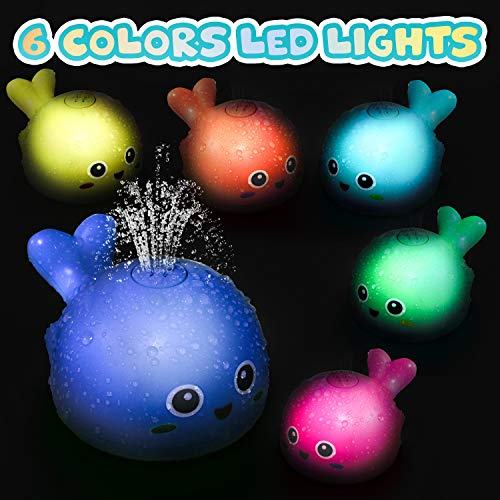 TOYOKID Baby Bath Toys for Toddlers 1 2 3 4 5 Years Old Boys and Girls Kids, Light Up Whale Bath Toy Sprinkler Automatically Bath Tub Toy for Bath with Color Box