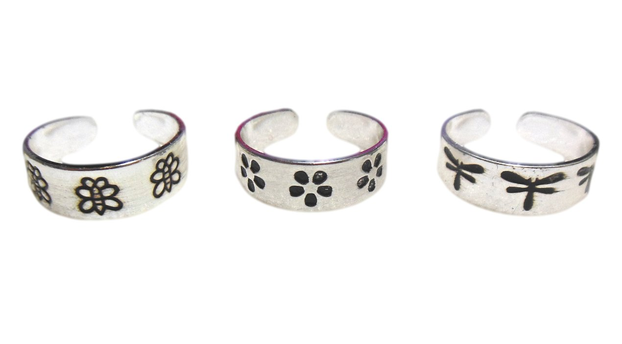 3 Silver Toe Rings Dragonfly, Daisy and Butterfly Set of 3 IN GIFT BOX …