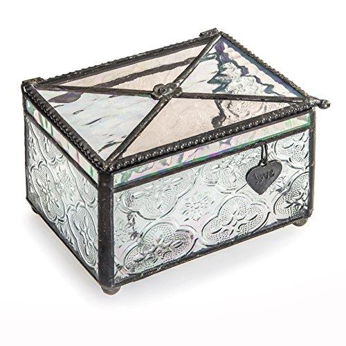 J Devlin Box 408 Stained Glass Decorative Jewelry Box with Heart Love Charm Keepsake Trinket Box Romantic Gift ()