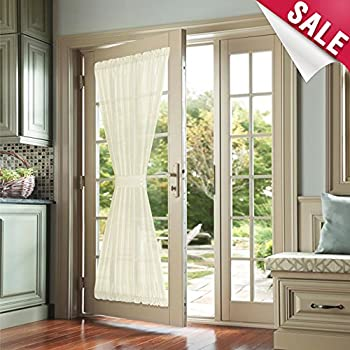 French Door Curtain Panels 72 Inches Long Faux Silk Pivacy French Door  Panels French Door Curtains With 1 Bonus Tiebacks, 1 Piece, Ivory