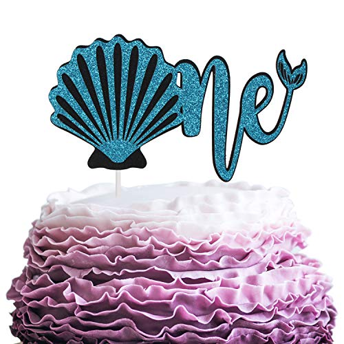 Happy Baby's 1st Birthday Party Cake Topper - Mermaid Seashell Theme Blue Glitter Picks Décor - Novelty Wild One Year Old Baby Shower Cupcake Decoration