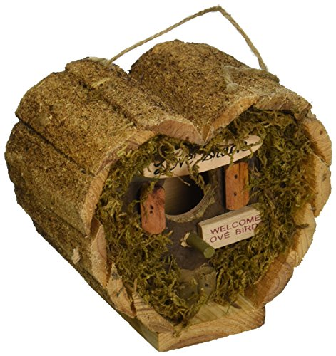 Love Shack Wood Birdhouse Heart Shaped Hanging Wooden