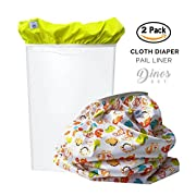Baby Tooshy Diaper Pail Liner Set (2) - Large Capacity Wet Bag for Cloth & Disposable Diapers. Effectively Contains Stinky Diapers. Heavy Duty PUL offers Superior Leak Free Protection. Dinos
