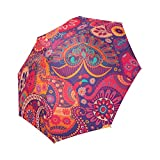 Bohemian Floral Hippie 100% Polyester Pongee Waterproof Foldable Travel Fashion Umbrella