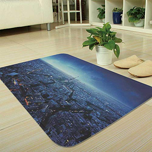 YOLIYANA Polyester Carpet,Cityscape,for Meeting Room Dining Room,35.43