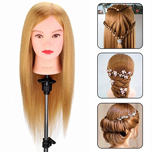 """Neverland Beauty 22"""" Mannequin Head 100% Real Human Hair Hairdresser Training Head Handmake Cosmetology Doll Head with Clamp Holder¡¡27££ from Neverland Beauty & Health"""
