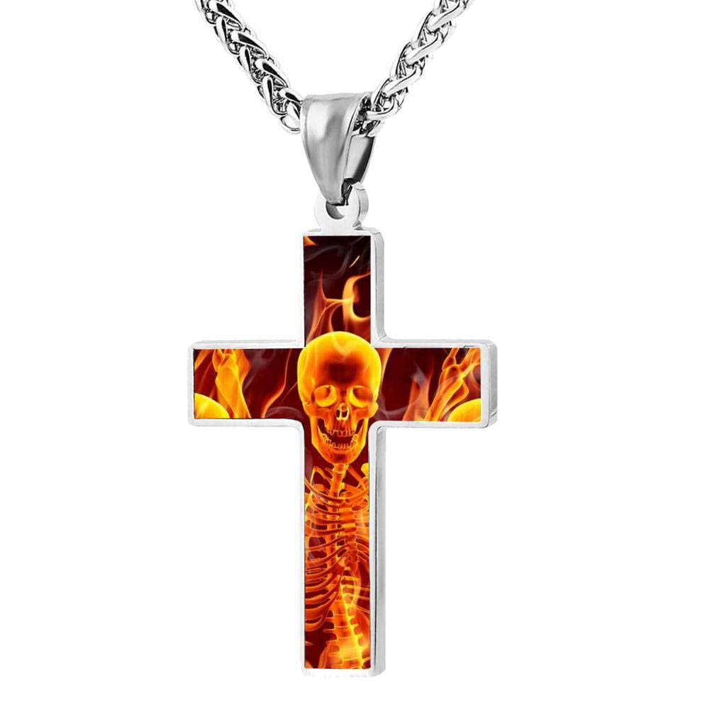 JDLSABDLS1A Skull and Music Mens Cross Patriotic Fashion Religious Jewelry Enamel Pendant Necklace for Men Women