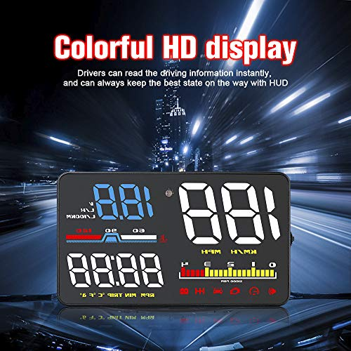CONRAL 5.0 inch OBD II Car Windshield HUD Head Up Display with Speed Fatigue Warning RPM MPH Fuel Consumption, Over Speed Alarm, Shift Reminder, KM/H and MPH Display