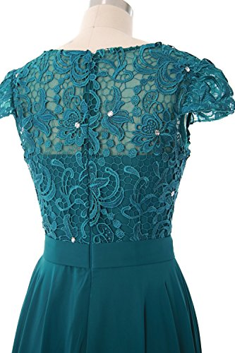 MACloth Women Cap Sleeve Mother of Bride Dress Vintage Lace Evening Formal Gown Teal