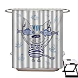Circo Fish Shower Curtain Fish Shower Curtain Customized Naughty Cat with Fish in Striped T-Shirt Anchor Pendant and Nautical Maritime Sign Bathroom Accessories W72 x L84 Blue Grey