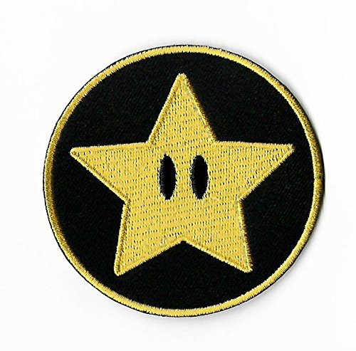 Gold Star Patch (3 Inch) Super Mario Brothers Embroidered Iron or Sew on Badge Power Up Applique Souvenir Retro DIY Costume World Kart Snes