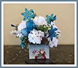Hydrangea Christmas Floral Arrangement, Christmas Centerpiece with Hydrangeas and snowflakes Sale