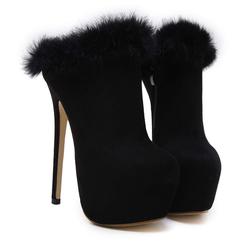 Sexy Stiefel Wildleder Wildleder Wildleder Stiletto Pumps Runde Zehe,MWOOOK-271 Herbst Winter Klub Modisch Party Schuhe mit Reißverschluss  6c3e33