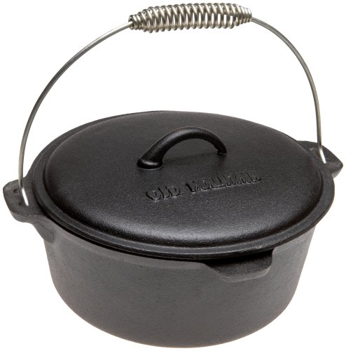 Old Mountain Pre Seasoned 10111 4 1 2 Quart Dutch Oven with Dome Lid and Spiral Bail Handle
