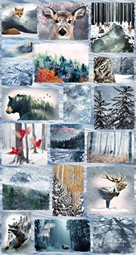 """Frost/Animal Medley Fabric Panel - Call of the Wild Digital Print - 24"""" x 44"""" - 100% Cotton Quilt Fabric"""