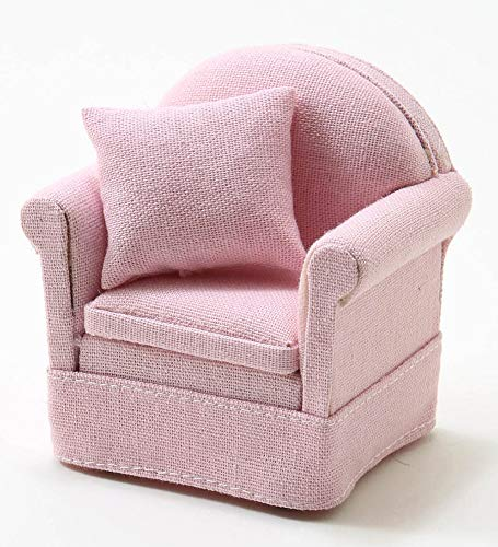 Classics by Handley Dollhouse Miniature Pink Arm Chair with a Pillow