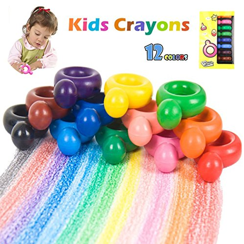 MBYHAN Toddler Crayons, 12 Colors Paint Crayons for Babies, Ring Shaped Washable Wax Crayons for Toddlers, Palm-Grip Crayons Doodle Toy Gift for Kids,Children, Boys, Girls, Non Toxic & Safety -