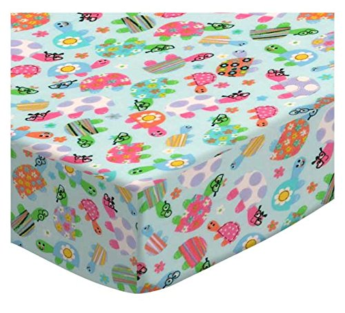 SheetWorld Fitted Cradle Sheet - Turtle Fun Blue - Made In USA