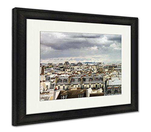 Ashley Framed Prints Paris Roofs Panoramic Overview at Summer Day, Wall Art Home Decoration, Color, 34x40 (Frame Size), Black Frame, AG5567104 -