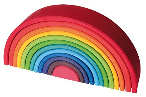 Grimm's Large 12-Piece Rainbow Stacker - Wooden Nesting Puzzle/Creative Building Blocks by Grimm's Spiel and Holz Design