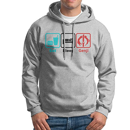 AUGU Men Eat Sleep Game Hooded Sweatshirt Ash Yamaha Game Controller