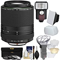 Pentax HD DA 55-300mm f/4.5-6.3 ED PLM WR RE Zoom Lens with 3 UV/CPL/ND8 Filters + Flash & LED Video Light + Diffuser + Soft Box + Kit