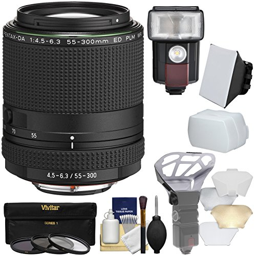 Pentax HD DA 55-300mm f/4.5-6.3 ED PLM WR RE Zoom Lens with 3 UV/CPL/ND8 Filters + Flash & LED Video Light + Diffuser + Soft Box + Kit Pentax Power Zoom