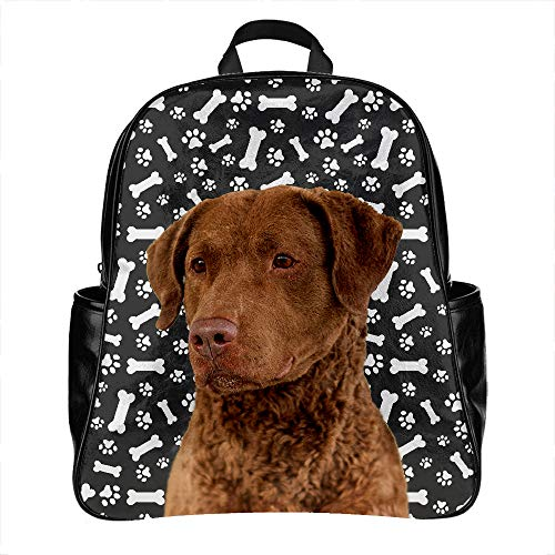 Chesapeake Bay Retriever Dog Print School Backpack Bag PU Leather