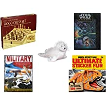 Children's Fun & Educational Gift Bundle - Ages 6-12 [5 Piece] - Classic Wood Folding Chess Set Game - Star Wars A New Hope 550 Piece Fully Interlocking Puzzle - Webkinz White Seal Plush - Military