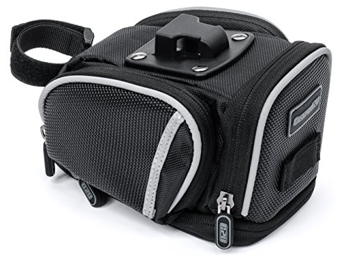 Saddle Bag By Geared2U - 4 Compartment & Pocket Clip On Bicycle Under Seat Pack To Carry All Your Important Biking
