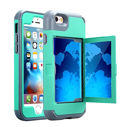 TabPow iPhone 6S Plus Case, Hidden Door Slim Wallet Case, Fits 2 Cards and Cash, Reinforced Drop Bumper Protection, Mirror, Front Frame Screen Protection for iPhone 6/6S Plus (5.5inch)-Turquoise Blue