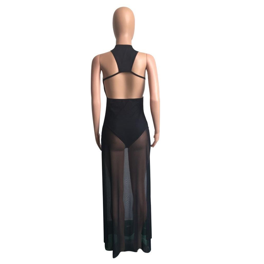 AMA(TM) Women Summer Sexy Sleeveless Dress Maxi Long Evening Party Dress Beach Sundress (M, Black) by AMA(TM) (Image #5)