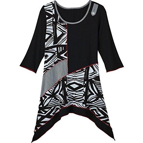 CATALOG CLASSICS Women's Tunic Top - Ancient Arts Mixed Patterns Black & White Blouse - 3X