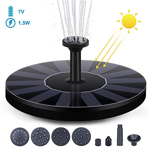 Huahua Solar Fountain Pump,Circle Garden Solar Powered Water Pump Kit,Floating Monocrystalline Solar Panel,With 6 Nozzles, For Bird Bath, Fish Tank, Pond Or Garden Decoration