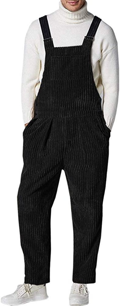 Makkrom Mens Corduroy Bib Overalls Fashion Jumpsuit Casual One Piece Walk Romper with Pockets