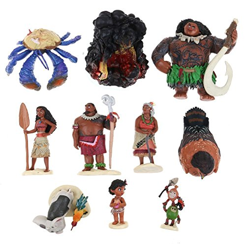 10PCS/Set PVC Movie Moana Cartoon Action Figures Dolls Toys Decoration (Chloe's Closet Halloween)