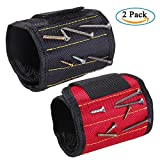 ZhaoCo Magnetic Wristband, Magnetic Armband (2 Pack) for Holding Screws, Nails, Bolts, Drill bits, Small Metal Tools - Best Tool Gift for DIY Handyman, Father/Dad, Husband,Boyfriend,etc.(Black,Red)
