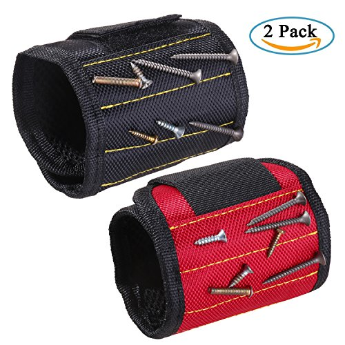 ZhaoCo Magnetic Wristband, Magnetic Armband (2 Pack) for Holding Screws, Nails, Bolts, Drill bits, Small Metal Tools - Best Tool Gift for DIY Handyman, Father/Dad, Husband,Boyfriend,etc.(Black,Red) by ZhaoCo