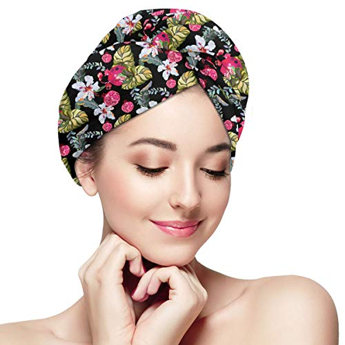 Yebfs Watercolor Flower Orchid Chrysanthemum Wrap Turban Microfiber Bath Cap Hair Turban Head Wrap with Button Quick Dry -Super Absorbent for Long & Curly Hair