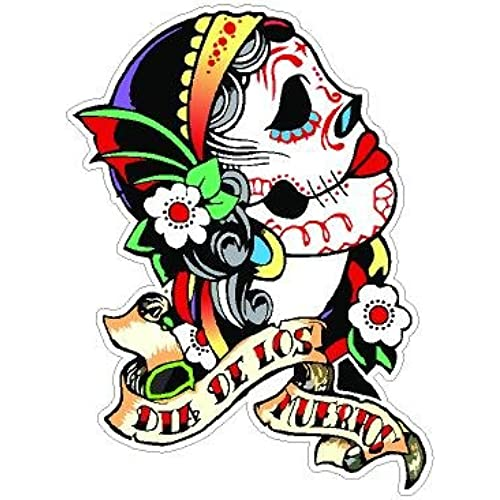 Day of the dead decal rockabilly rock vintage sugar skull sticker 4