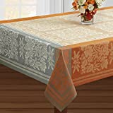 Benson Mills Gathering Engineered Jacquard Tablecloth (60'' X 84'' Rectangular, Taupe) For Harvest, Fall and Thanksgiving