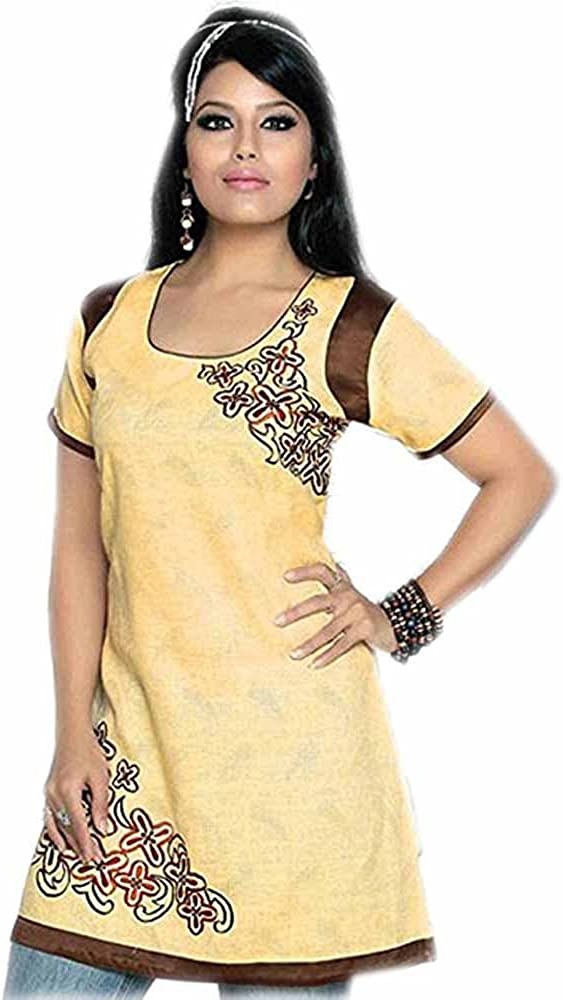 Jayayamala Ladies Cotton Tunic Neck Embroidered Top Blouse Dress