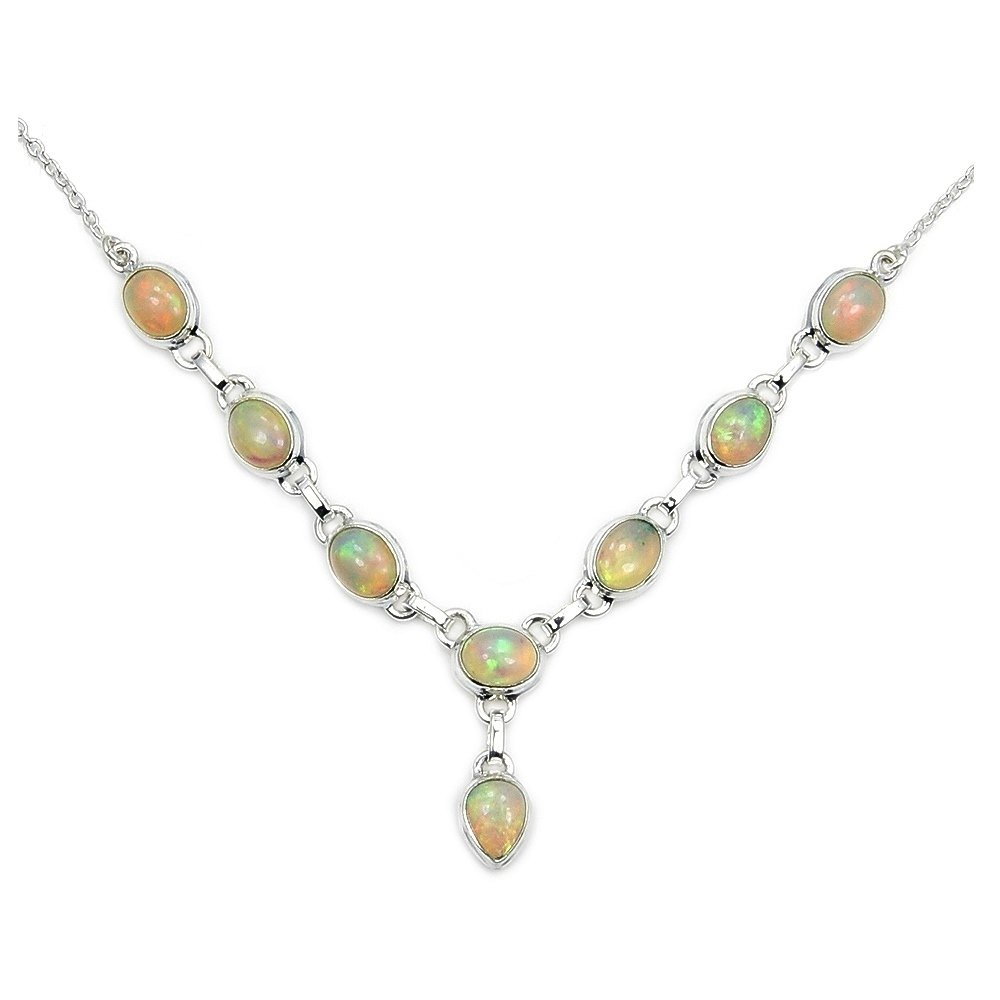 Fascinating Rare Sterling Silver Fire Ethiopian Opal Y-shaped Necklace