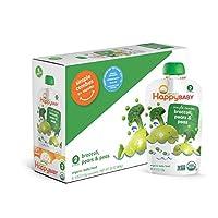 Happy Baby Organic Food para bebés en etapa 2 Combos simples Peras y guisantes para brócoli, 4 bolsas de onzas (paquete de 16) Bolsas para alimentos para bebés que se pueden volver a sellar, Pure de frutas y verduras, Sin gluten OGM orgánico Sin kosher