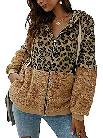 SAUKOLE Women's Fashion Long Sleeve Zip Up Leopard Sherpa Fleece Cardigan Coat Jacket Pockets