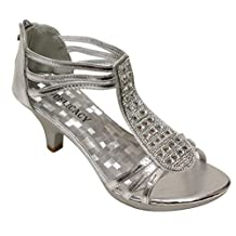 Delicacy Angie-27 Women's Patent Open Toe Rhinestone Beads D'orsay Zip Closure Kitten Heel Dance Shoes