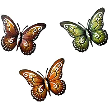 Metal Butterfly Wall Decor   Colored Metal Butterflies, Set Of Three Wall  Art Product SKU: HD229085