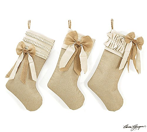 Christmas Stocking with Burlap Bow - Set of 3 Assortment Neutral Stocking