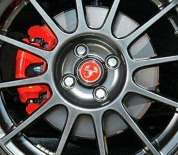 SCOOBY DESIGNS Fiat 500 595 Abarth Scorpione Cerchi in Lega Adesivi Cupola X4 Rosso e Cromato