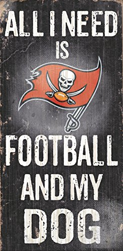 "Tampa Bay Buccaneers Wood Sign - Football and Dog 6""x12"""